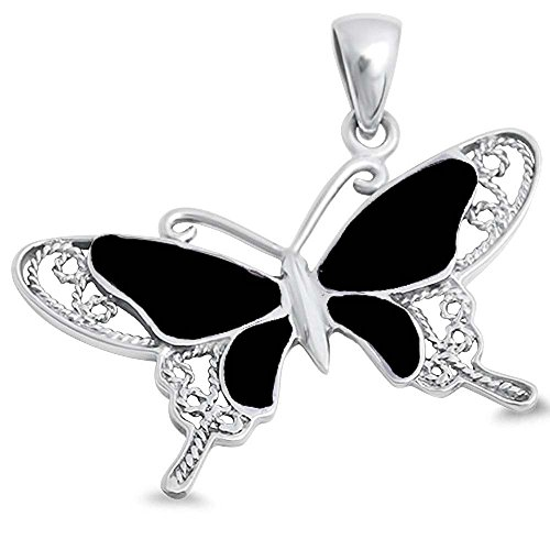 Simulated Black Onyx Butterfly .925 Sterling Silver Pendant