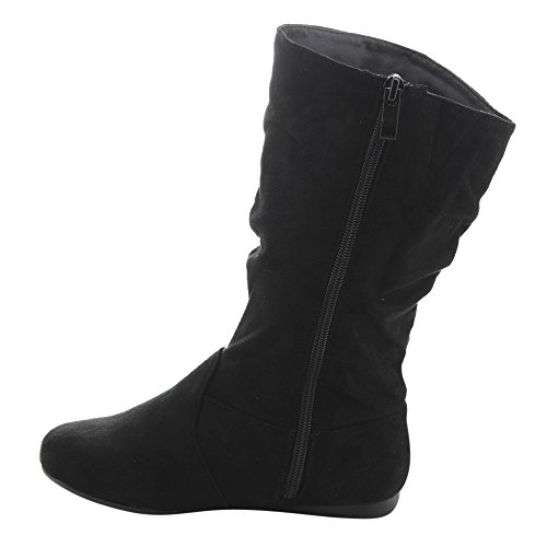 LINK GD92 Girl's Mid-Calf Solid Color Flat Heel Slouch Boots Photo #7