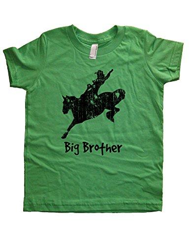 Boys Cowboy Rodeo Big Brother Shirt 5-6 Green by Sunshine Mountain Tees