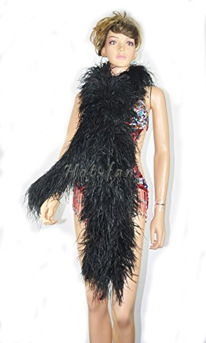 Black 12 Ply Ostrich Feather Boa 71 Inch Long by hot fans