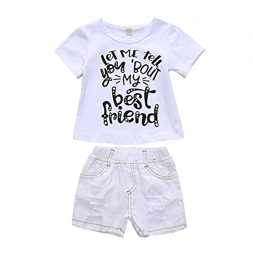 Brother and Sister Matching Outfits Short Sleeve Tops + Jean Shorts Set (Sister, 4-5T, 120)