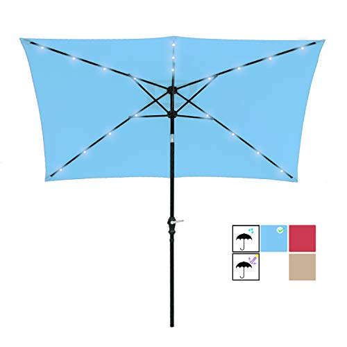 (SUNBRANO 7 by 9 Ft Solar Powered LED Lighted Patio Umbrella Table Market Rectangle Umbrella with Crank and Tilt, Turquoise)