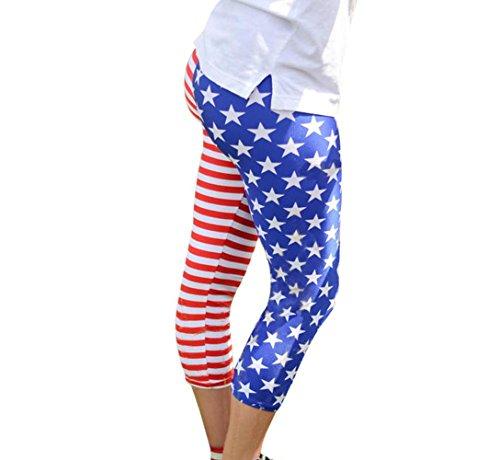 TOOPOOT Women's American Flag Print Leggings Ladies Skinny