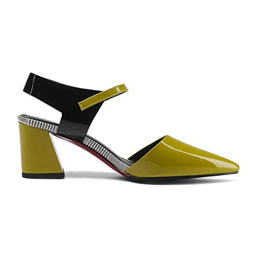 Leather Green Sandals Toe Ankle Low Patent Party Sandals Mid Heel For Slingback Dress Wedding Block Pointed Evening Strap Women's F1nf5wq4Un