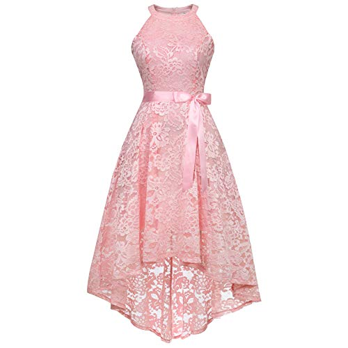Women's Sleeveless Slim Halter Lace Dress Bridesmaid Party Cocktail Formal Dress, Pink, M