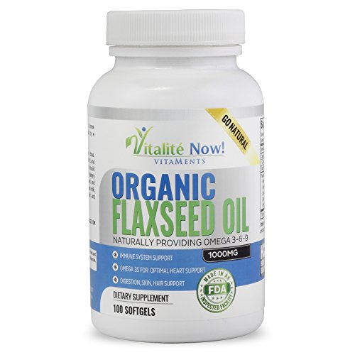Organic Flaxseed Oil Softgels - Premium, Virgin Cold Pressed Flax Seed Oil - Hair Skin & Nails Support - Omega 3-6-9 Supplement - More than 3 Month Supply