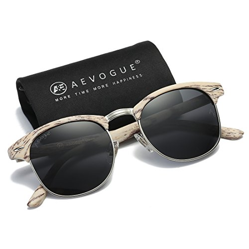 AEVOGUE Polarized Sunglasses Semi-Rimless Frame Brand Designer Classic AE0369 (White Woodgrain&Black, - Designer White Sunglasses
