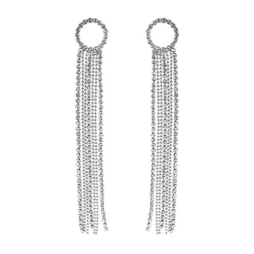(Rosemarie Collections Women's Crystal Rhinestone Circle and Extra Long Fringe Drop Earrings (Silver))
