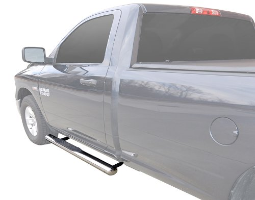 MaxMate Custom Fit 2009-2018 Dodge Ram 1500 Regular Cab, 2010-2018 Ram 2500/3500/4500/5500 Regular Cab 4 inch Oval Stainless Steel Side Step Rails Nerf Bars Running ()
