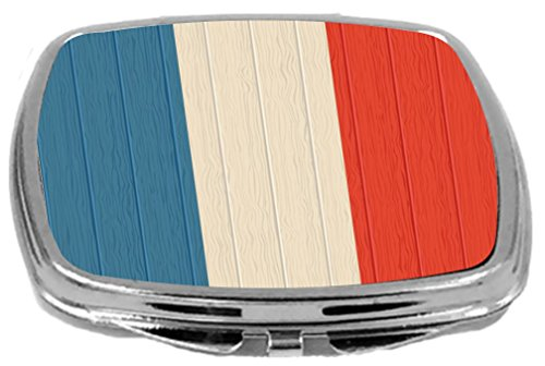 Rikki Knight Compact Mirror on Distressed Wood Design, Saint Martin Flag, 3 Ounce by Rikki Knight