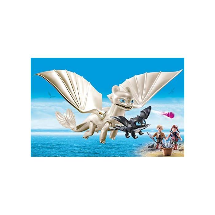 Diversión para pequeños aventureros: DreamWorks Dragons Furia Diurna y bebé Dragón con niños, Juego de PLAYMOBIL con figuras y otros accesorios para jugar Furia Diurna con función de tiro para flechas, Niños vikingos con mano de agarre para accesorios PLAYMOBIL, entre otros, adecuado para set de juego Hipo y Desdentao con bebé Dragón PLAYMOBIL (70037) Juego de figuras para niños a partir de 4 años: óptimo para el tamaño de sus manos y bordes redondeados agradables al tacto