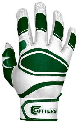 Cutters Gloves Youth Power Control Baseball Batting Glove, White/Dark Green, (Cutter Baseball Batting Gloves)