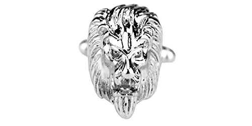 D&L Menswear Rhodium Plated Lion Head Cufflinks with Black Gift Box by D&L Menswear (Image #1)