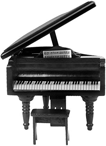 Miniature Birch Wood Grand Piano for 1:12 Dollhouse Accessories Collection