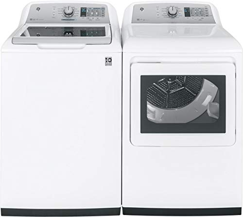 GE White Top Load Laundry Pair with GTW750CSLWS 27″ Washer and GTD75ECSLWS 27″ Electric Dryer