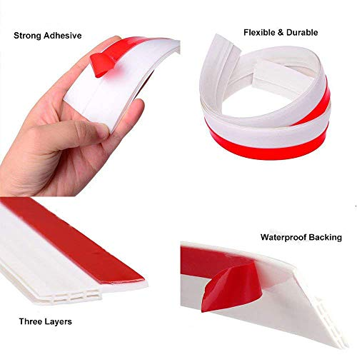 Aptoyu Self-Adhesive Door Sweep Weather Stripping Under Door Draft Stopper,  Door Bottom Seal Strip Noise Stopper Windproof Prevent Bugs (White 2