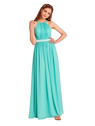 Alicepub Junior Bridesmaid Dresses Long Formal Dresses Women's Evening Dresses, Aqua Blue, US6