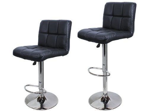 Price comparison product image TMS 2 Synthetic Leather Modern Design Adjustable Swivel Barstools Hydraulic Bar Stool (BLACK)
