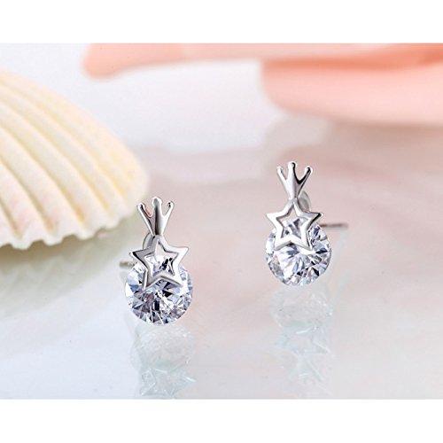 Boucles d'oreilles étoile et couronne swarovski elements argent 925