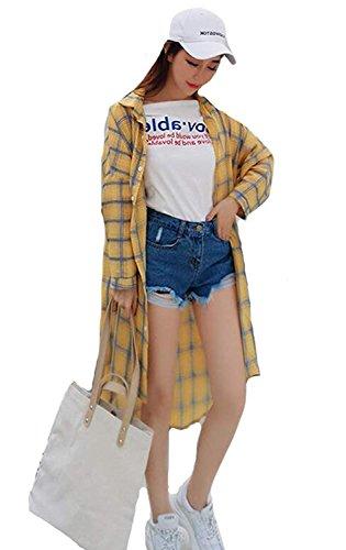 モード浸食設置シャツ レディース 日焼け止め カディガン 夏 tシャツ アウター カジュアル ロング丈 ゆったり UVカット 長袖 個性 おしゃれ 原宿風 チェック柄 可愛い 学生 通気