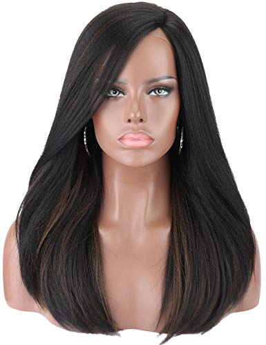en's Silky Straight Black Wigs with Highlights Premium Yaki Futura Synthetic Hand Tited Ear to Ear Lace Front Wigs for Women Natural Looking Lace L Parting Hairline Daily Wear ()