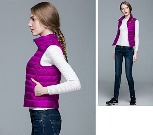 Coat Down Vest Down Warm Jacket Women's Lightweight Purple Winter Puffer ZKOO Pockets Packable Sleeveless Gilet with Autumn vqOAg