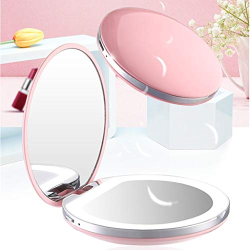Illuminated LED Makeup Mirror with Light, Mini Round Shape Can Carry USB -