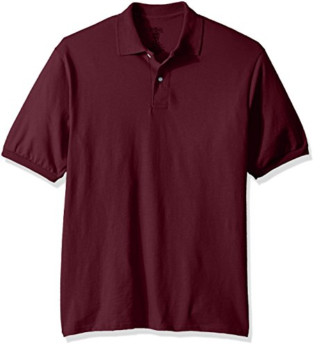 Jerzees Men's Spot Shield Short Sleeve Polo Sport Shirt, Maroon, (Dark Casual Finish)