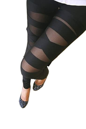 d3ad3907745a7 Maybe Women Ladies Girls Sexy Punk Solid Color Bandage Mesh Black Leggings  Tight Pants at Amazon Women's Clothing store: