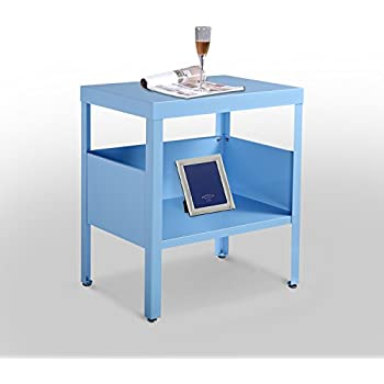 homcom mid century modern industrial metal nightstand end table light blue