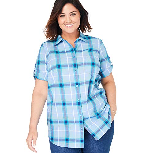 Woman Within Women's Plus Size Short Sleeve Button Down Seersucker Shirt - French Blue Plaid, 5X