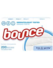 Bounce Free & Gentle Fabric Softener Dryer Sheets, Unscented and Hypoallergenic for Sensitive Skin, 200 Count