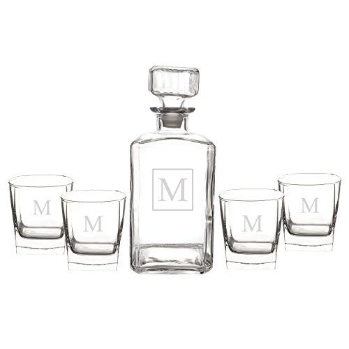 Cathy's Concepts Personalized Liquor Decanter & Glasses Set, Letter - Made Glassware Custom