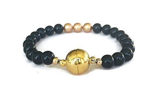 Men's Black Agate Gemstone Clasp Bracelet Gifts For Him