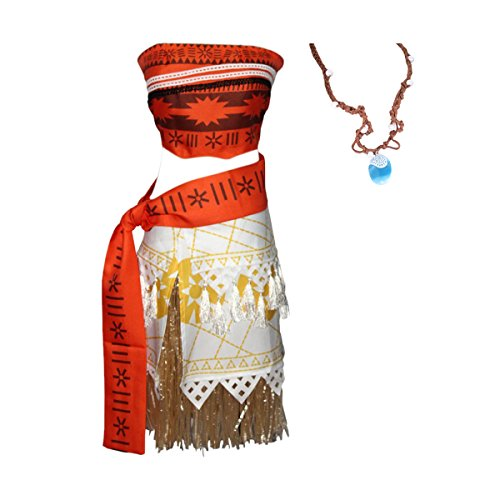 Ciel Infini Women's Moana Princess Costume Dress up Girls Adventure Outfit with Seashell Necklace,Red,M/US (Sea Dress Up)