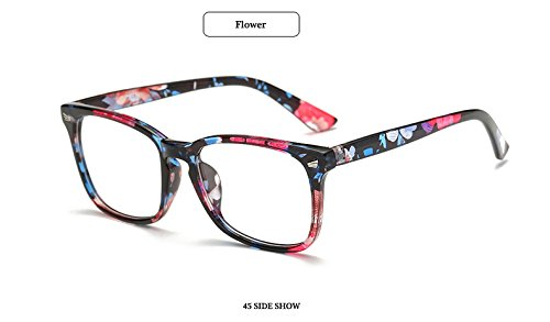 GigaMax TM Square Eyewear Clear Lens Unisex Retro Glasses Big Frame Vintage Eyeglasses Frame For Women Men's Goggles oculos de grau[ Flower ]