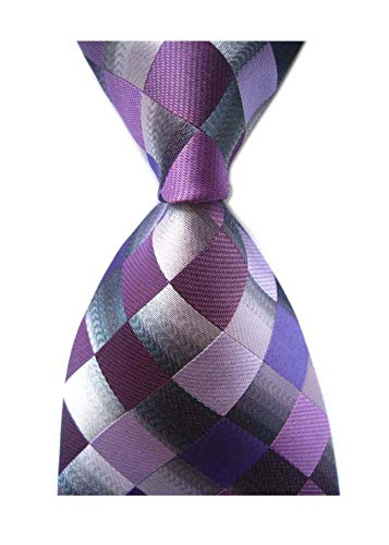 (Elfeves Men's Classic Designer Plaid Ties Checks Patchwork Necktie Purple Grey)