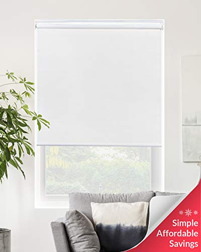 Chicology Cordless Roller Shades Snap-N'-Glide, Blackout Window Treatments Perfect for Living Room/Bedroom/Nursery/Office and More.Byssus White (Room Darkening), 68″W X 72″H