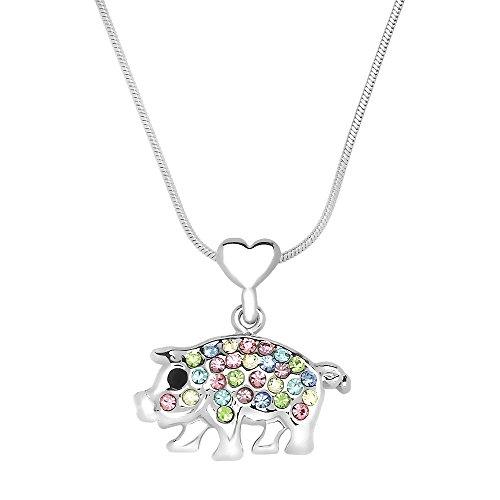 Liavy's Piggy Charm Pendant Fashionable Necklace - Sparkling Crystal - 17