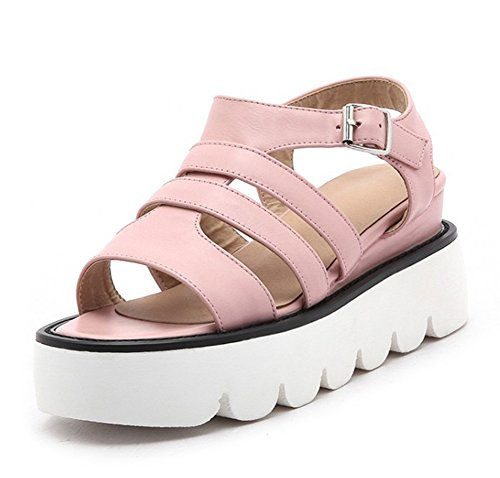 Easemax Womens Trendy Gladiator Strappy Open Toe Buckles Slingback Platform Wedge Mid Heel Sandals Pink GJG9e