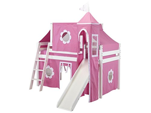 Jackpot Princess Low Loft White Bed with Slide, Pink and White Tent and Tower Princess Castle Bed