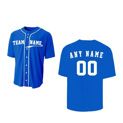 A4 Sportswear Royal Blue Adult XL (CUSTOM Front and/or Back) Full-Button Baseball Wicking Jersey by A4 Sportswear