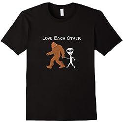 Mens No Hate Discrimination Anti Racism T Shirts- Alien Bigfoot Medium Black
