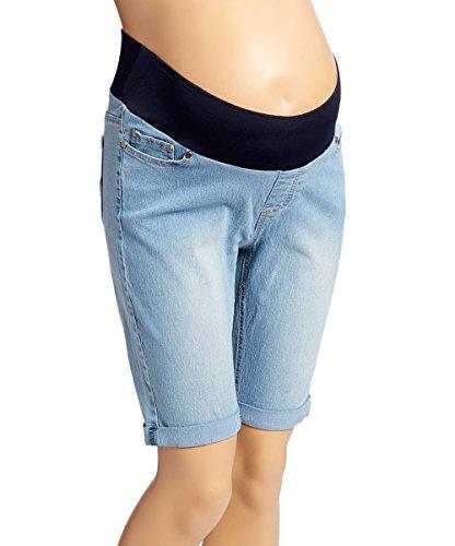 Sass & Sassy Women's Plus Size Pull on Comfort Denim Bermuda Shorts (1X, Power Wash) (Wash Bermuda Short Denim)