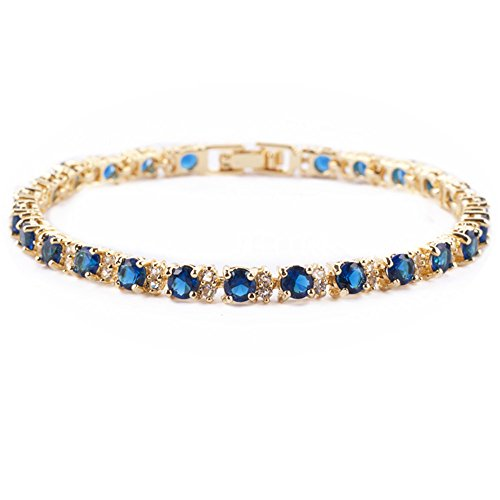 RIZILIA Eternity Tennis Bracelet & Round Cut CZ [Simulated Blue Sapphire] in Yellow Gold Plated, 7