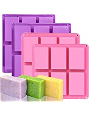 4 Pack Rectangle Silicone Molds, 6 Cavities Silicone Soap Molds Silicone Baking Mold Cake Pan for Soap Making, Cake Mold, Chocolate Mold & Ice Cube Tray (Purple & Pink)