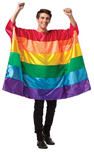 UHC Men's Rainbow Flag Outfit Holiday Theme Party Adult Fancy Costume, OS (Holiday Theme Party Costumes)