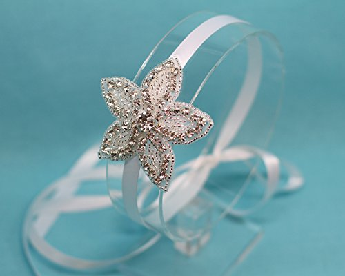 Beaded Flower Tie Back Headband by The Ivory Willow
