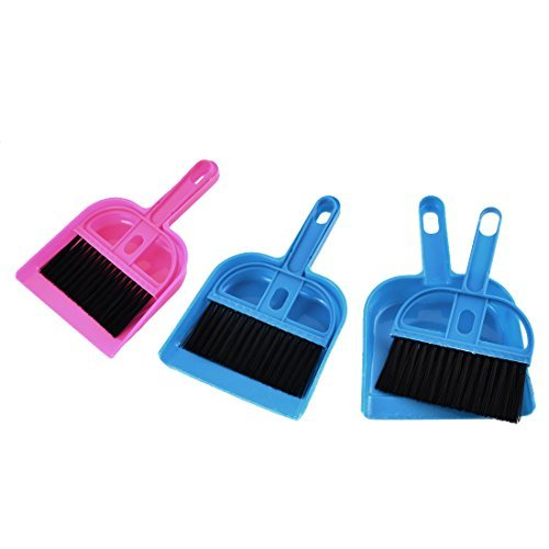 DealMux Plastic Computer Netbook Keyboard Cleaner Dustpan Brush Set Fuchsia Blue