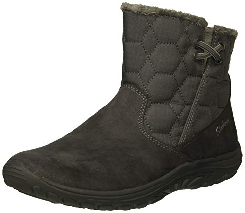 Skechers Women's Easy Going-Tribune-Double Zipper Bungee Bootie with Air-Cooled Memory Foam Ankle Boot Charcoal 9 M US